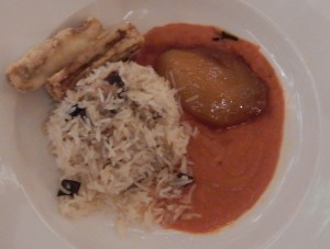 Eggplant and Basmati Rice Timbale with crisp-fried fritters, juicy mango cheek and spicy tomato sauce. Click photo for full size.