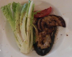 Grilled Zucchini and Eggplant with Sundried Tomatoes Chives and Hearts of Romaine. Click photo for full size.