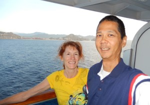 Jeri and Tim Viewing Our Approach to Cabo San Lucas. Click photo for full size.