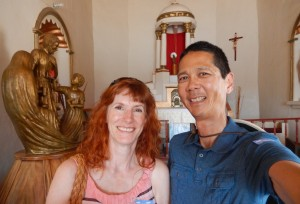 Jeri and Tim in the Mission in Todos Santos. Click photo for full size.