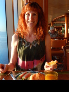 Jeri at Breakfast with Her Watermelon Dress. Click photo for full size.
