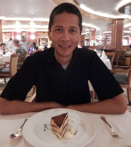 Tim with His Tiramisu. Click photo for full size.