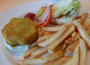 Veggie Burger with Fries. Click photo for full size.