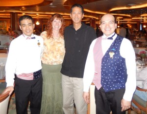 Wilfredo, Jeri, Tim, and Gary after Our Final Supper. Click photo for full size.