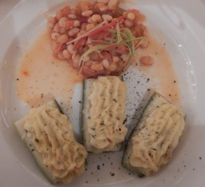 Zucchini Ripieni Gratinati - Baked zucchini with cheese and onion stuffing, cannellini bean ragout. Click photo for full size.