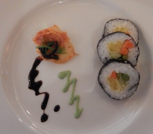 Sushi with Bacardi Wasabi Emulsion and Kimchi. Click photo for full size.