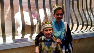 Josiah and Lizzie in front of one of the horses. Click photo for full size.