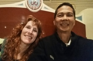 Jeri and Tim Selfie on Midway Mania. Click photo for full size.