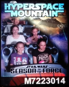 Josiah, Nicole, Victoria, Lizzie, and Tim on Hyperspace Mountain. Click photo for full size.