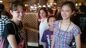 Nicole, Victoria, Josiah, and Lizzie at Starbucks. Click photo for full size.