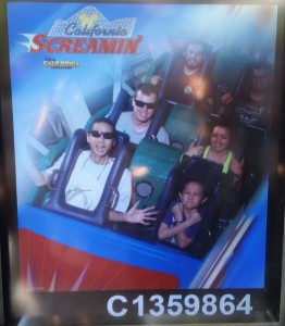 Tim and Josiah in the very front of California Screamin. Click photo for full size.