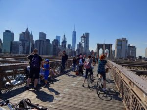 Biking back across the Brooklyn Bridge. Click photo for full size.