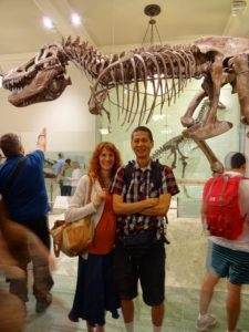 Jeri and Tim in front of T-Rex in the American Museum of Natural History. Click photo for full size.