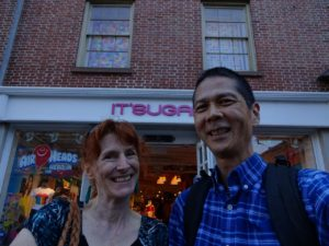 Jeri and Tim outside of It'Sugar. Click photo for full size.