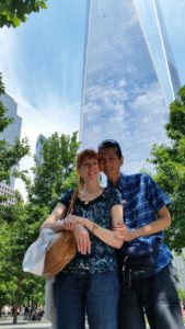 Jeri and Tim with One World Trade Center behind. Click photo for full size.