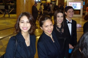 Joanna, Victoria, Sarah, and Jeffrey in the Hilton Lobby before the concert. Click photo for full size.