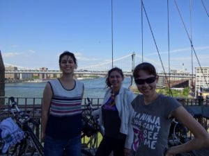 Joanna, Victoria, and Nicole with the Manhattan Bridge in the background. Click photo for full size.