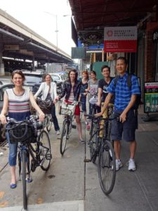 On our (rental) bikes, Joanna, Victoria, Sarah, Jeri, Nicole, Jeffrey, and Tim. Click photo for full size.