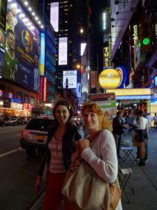 Sarah and Jeri in Times Square outside of Ripley's Believe It or Not! Click photo for full size.