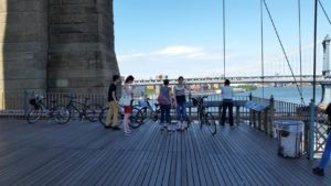 Stopping on the Brooklyn Bridge. Click photo for full size.