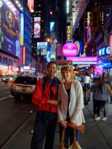 Tim and Jeri in Times Square. Click photo for full size.