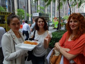 Victoria, Joanna, and Jeri after getting lunch from a food truck. Click photo for full size.