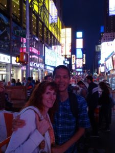 Jeri and Tim in Times Square. Click photo for full size.