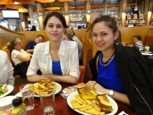 Joanna and Victoria at Junior's with their grilled cheese and fries. Click photo for full size.