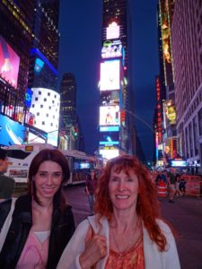 Sarah and Jeri in Times Square. Click photo for full size.