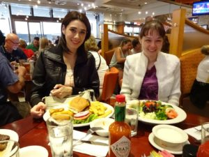 Sarah with a huge burger and Nicole with a salad at Junior's. Click photo for full size.