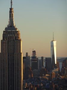 The Empire State Building (left) and One World Trade Center (right) as seen from the Top of the Rock. Click photo for full size.