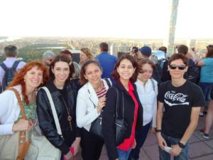 Top of the Rock - Jeri, Sarah, Victoria, Joanna, Nicole, and Jeffrey. Click photo for full size.