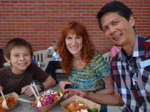 Josiah, Jeri, and Tim enjoying lunch at SoCal VegFest. Click photo for full size.