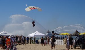 Long Beach Fire Boat with Skydiver. Click photo for full size.