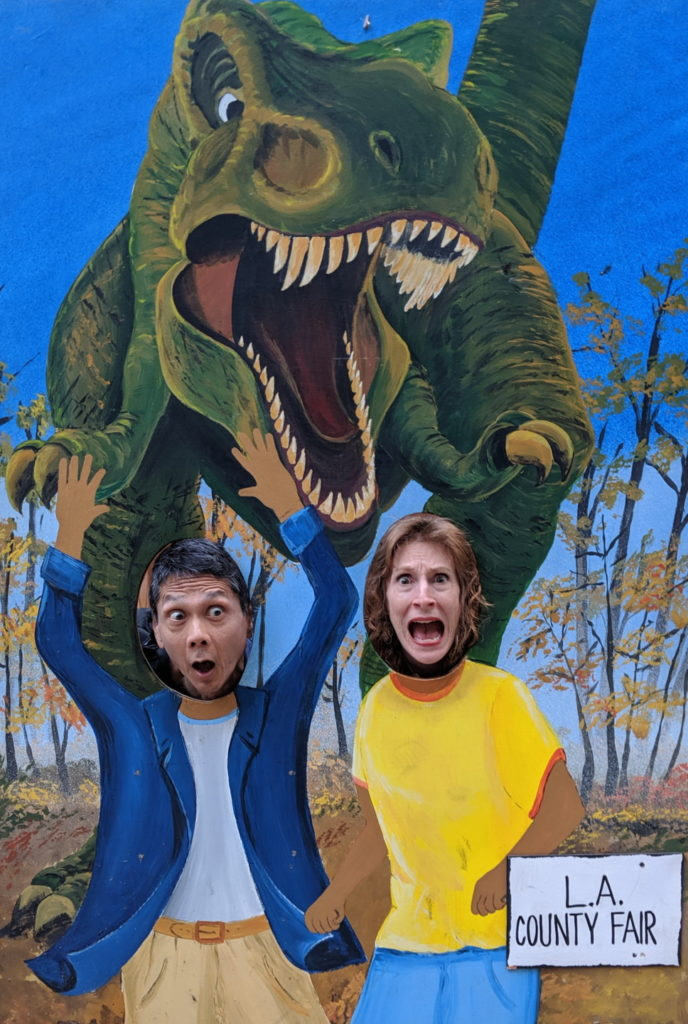 Tim and Jeri chased by a dinosaur
